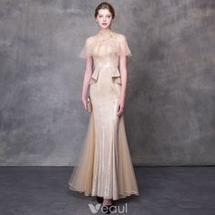 Chic / Beautiful Champagne Evening Dresses 2018 Trumpet / Mermaid Appliques Crystal High Neck Backless Short Sleeve Floor-Length / Long Formal Dresses