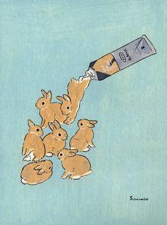 Acrylic Paint by Schinako Moriyama. Schinako Moriyama is an illustrator as bunny… Acrylic Paint by Schinako Moriyama. Schinako Moriyama is an illustrator as bunny art from Fukushima, Japan Continue reading and for more Acrylic art→View Website Art And Illustration, Character Illustration, Rabbit Illustration, Animal Illustrations, Lapin Art, Illustrator, Art Mignon, Drawn Art, Arte Sketchbook