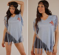 80s Cut Up T-Shirts | Vintage 80s Blue BUTTERFLY and RAINBOW Fringe T Shirt