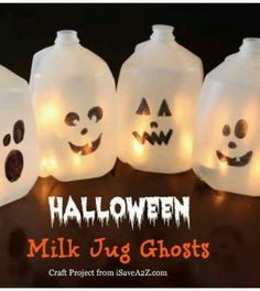 Milk jug ghost lights. Draw on a face with sharpie, cut a small opening in the back, weight with rocks, stuff some faerie lights inside...