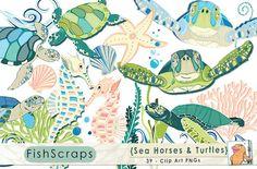 Sea Horses and Sea Turtles ClipArt #CarrieStephens #CreativeMarket