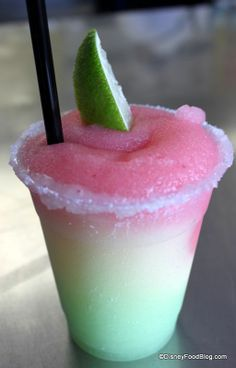 Stoplight Margarita — a mixture of strawberry, golden, and melon frozen margaritas