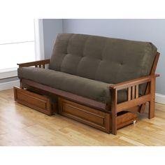 Somette Beli Mont Honey Oak Full-Size Futon Set with Suede Mattress and Storage  #Somette
