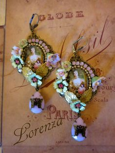 Green crystal shabby earrings Pink Versailles  by lorenza33