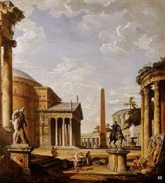 Roman Landscape with the Pantheon. 18th.century. Giovanni Paolo Pannini. Italian. 1691-1765. oil /canvas. http://hadrian6.tumblr.com