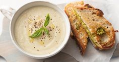 Cheesy pesto toasties are perfecting for dunking in the creamy cauliflower soup.