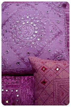 Radiant Orchid embroidered pillow cases