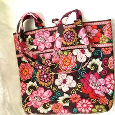 Vera Bradley Mod Floral Pink Shopper Tote Travel Computer Tablet Bag #verabradley