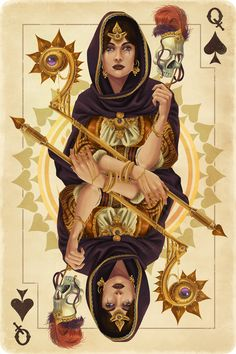 Queen of Spades - Playing Card (Art Prints, Wood & Metal Signs, Canvas, Tote Bag, Towel) - Playing Cards Art, Vintage Playing Cards, Playing Card Design, Dibujos Dark, Art Carte, Queen Of Spades, Desenho Tattoo, Tarot Decks, Deck Of Cards