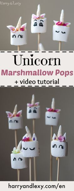 How to make easy Unicorn Marshmallow Pops - Harry & Lexy's Workshop If you want to surprise the kids with a unicorn party try these Unicorn Marshmallow Pops. They look adorable and the recipe is much easier than a unicorn cake! Unicorn Birthday Parties, Girl Birthday, Birthday Ideas, Cake Birthday, Party Ideas For Teen Girls, Unicorn Foods, Marshmallow Pops, Giant Marshmallows, Savoury Cake