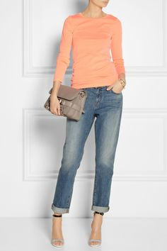 J.Crew | Neon cotton-jersey top | J Brand | Aidan mid-rise boyfriend jeans | Sophia Webster | Nicole leather and printed canvas sandals | Proenza Schouler | The PS11 Classic textured-leather shoulder bag