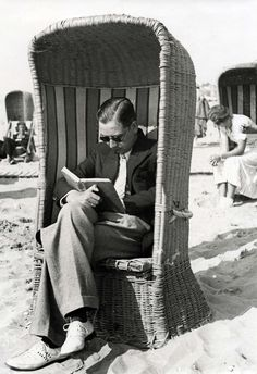 Read on the beach. What a cool chair! I want one in my reading corner--BDH