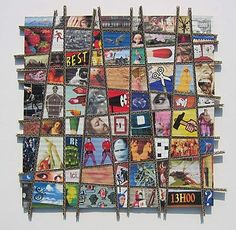 Corrugated cardboard & decoupaged images. I can see this an amazing group project (with precut shapes).