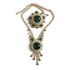 JULIANA Emerald Green and Clear Rhinestones by MyVintageJewels