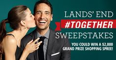 Enter the Lands' End #Together Holiday Sweepstakes for a chance to win eGift Cards every day, plus the grand prize of a $2,000 Lands' End shopping spree.