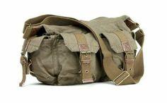 kingdo New fashion Mens womens casual Canvas Leather Shoulder Messenger School Bag cross body bag purse khaki green (coffee green): Amazon.c...