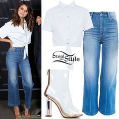 Selena Gomez posed with fans in Melbourne a couple of weeks ago wearing an American Apparel Denim Mid-Length Tie-Up Top ($46.00), Wrangler Marfa High-Rise Cropped Flare Jean ($119.00) and La Moda Gold Digger Clear Perspex Boots ($49.82).