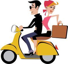 Illustration by Kim Johnson LindgrenSmith.com #mopeds #scooters #vespa #Travel
