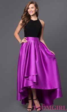 Image of two tone high neck high low dress Detail Image 1
