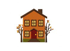 Autumn House Two Trees Machine Embroidery Design – Blasto Stitch