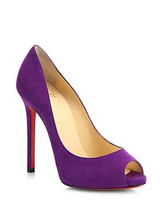 Christian Louboutin Flo Suede Peep-Toe Pumps, available at Saks Fifth Avenue