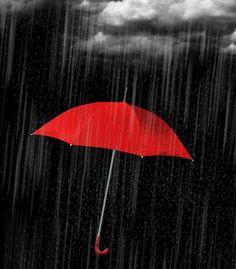 bright red umbrella