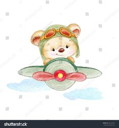 Teddy bear pilot - Buy this stock illustration and explore similar illustrations at Adobe Stock Baby Animal Drawings, Cute Drawings, Cute Images, Cute Pictures, Scrapbooking Image, Teddy Bear Drawing, Baby Painting, Bear Illustration, Cute Teddy Bears