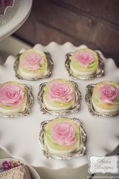 K--201--Romantic Tea Party by Dolce Designs - Visit the site to get lots of inspiration and presentation ideas for your next tea party. Coasters like these are sold at the dollar store, and make an elegant way to serve pastries!