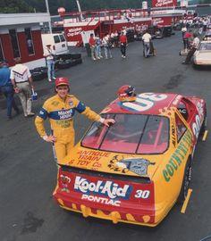 Michael Waltrip with his Busch Series Pontiac  Nascar Race Cars, Old Race Cars, Michael Waltrip, Drag Racing, Auto Racing, Jeff Gordon Nascar, American Racing, Garage Art, Fancy Cars