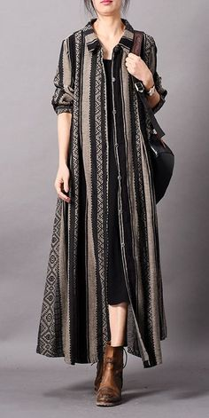 Vintage Loose Striped Loose Long Coat Women Casual Outfits - Vintage Loose Striped Loose Long Coat Women Casual Outfits Source by nehirzerkin - # Outfits for teens Stylish Dress Designs, Designs For Dresses, Stylish Dresses, Casual Dresses, Dresses Dresses, Simple Dresses, Indian Fashion Dresses, Indian Designer Outfits, Fashion Outfits