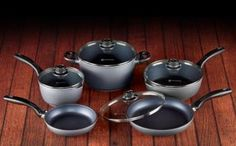 Swiss Diamond 9 Piece Family Kitchen Kit – Prepare healthier food and less time on clean-up with this family kitchen kit with everything you need to stock a complete kitchen: one small 8 in. fry pan, one 10.25 in. fry pan, one 10 in. saute pan with lid, one 2.2-qt sauce pan with lid, and one 5.5-qt soup pot with lid. The nonstick coating, reinforced with real diamond crystals, has outperformed and outlasted other coatings. Simply wash with hot soapy water, no more scrubbing or soaking…