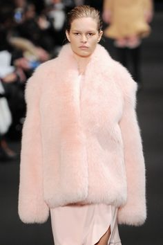 """wgsn: """"Dusy Pink with heaps of texture. Faux-heaven at """" Coral Fashion, Fur Fashion, Fashion Trends, Fox Fur Jacket, Fur Accessories, Fabulous Furs, Glam Rock, Occasion Wear, Pale Pink"""
