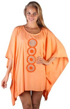 Womens Short Caftan Coverup Poncho Beach Dress. With a flirty thigh-grazing hemline, it's the perfect outfit for day to evening time glamor