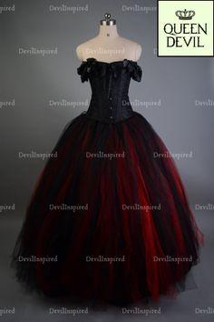 Red Black Off The Shoulder Romantic Gothic Corset Prom Dress - Dresses | RebelsMarket $206.00