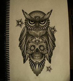 Sugar Owl Tattoo Designs | sugar skull owl tattoo design