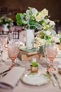 Table setting with depression glass stem ware back to the book idea...I think we should go for it!