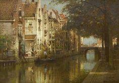 Johannes Christiaan Karel Klinkenberg (Den Haag 1852-1924) Gezicht op een stadsgracht Den Haag - Kunsthandel Simonis en Buunk, Ede (Nederland).