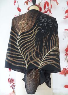 GOLDEN PEACOCK FEATHER silk shawl/crepe de chine hand dyed jet black/animal print shinny silver/gold copper silver detail/hand painted silk by monamiemi on Etsy
