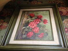 Geraniums oil on canvas $ 6 Thrift store find!