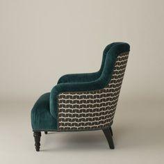Fulton Chair - Peacock Wool Velvet and Modern Leaf   School House Electric