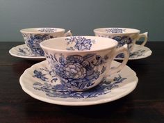3 Royal Doulton The Kirkwood Tea Coffee Cups and Saucers Blue Demitasse D6314 #RoyalDoulton