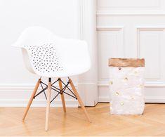 DIY-Kosz do przechowywania Dots, Wewnątrz: brązowy Na zewnątrz: biały, złoty