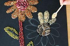 Seed Mosaic | Kids' Crafts | Fun Craft Ideas | FirstPalette.com Sunflower Crafts, Sunflower Art, Mosaic Crafts, Mosaic Art, Seed Crafts For Kids, Mosaics For Kids, Aboriginal Dot Art, Seed Art, Turtle Crafts