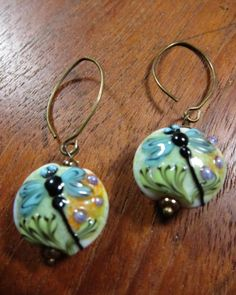DRAGONFLY Earrings Murano Glass Lampwork by SusanHeleneDesigns, $28.00