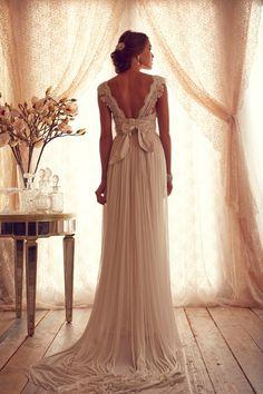 Chiffon and Lace Sexy V Neckline A Line Vintage Wedding Dress