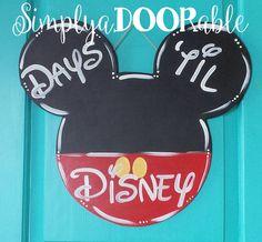 Countdown to Disney! Chalkboard Minnie Mouse, Chalkboard Mickey Mouse Wood Door Hanger, Chalkboard Disney, Simply aDOORable by SimplyaDOORableNC on Etsy