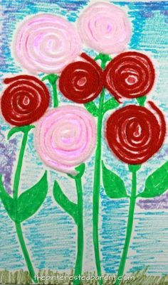 Yarn coiled roses. A great fine motor skill arts and craft idea for kids. Perfect for Valentine's Day or Mother's Day or to welcome spring flowers. Try using pipe cleaners as well.