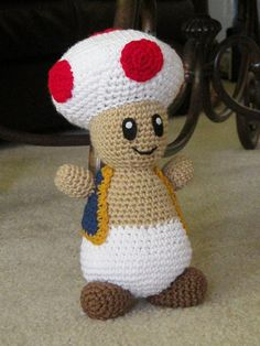 Toad Super Mario Nintendo Inspired Large Plush by CrochetAvenue, $34.99