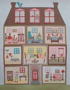 It's A Dollie's Life - this is a fun applique and pieced quilt PATTERN from Rosalie Quinlan. Originally done as a Block of the Month, it is now available in one complete pattern with all the block instructions included. Dollhouse Quilt, Rosalie, House Quilts, Quilt Baby, Doll Quilt, Girls Quilts, Mini Quilts, Felt Dolls, Applique Quilts