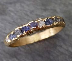 Raw diamonds and Sapphires Men's or Women's Wedding Band Custom One Of a Kind Blue Montana Gemstone Ring Multi stone Ring byAngeline C0269